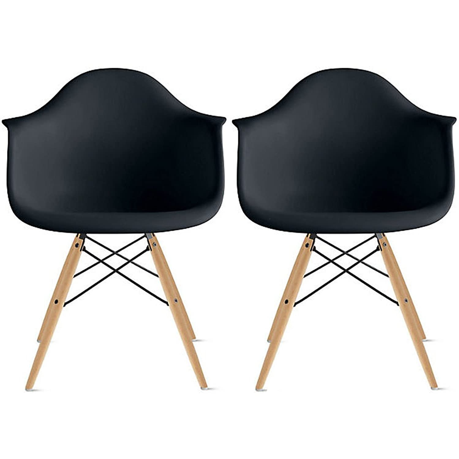 Amazon com   2xhome   Set of Six  6  Black   Eames Style Eames Arm Chair  Side Ray Chair Molded Plastic Shell Bedroom Dining Side Ray Chair with  Brown Wood. Amazon com   2xhome   Set of Six  6  Black   Eames Style Eames Arm