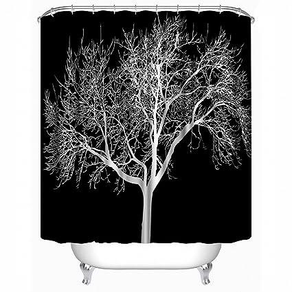 Alicemall Black Shower Curtain Big Tree Print Bathroom Set Waterproof Fabric Liner