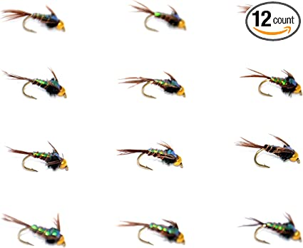 One Dozen 12 Beadhead Flashback Pheasant Tail Nymph Size 18 fishing flies