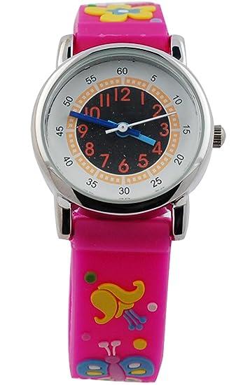Las niñas tiempo maestro relojes Digital redondo cuarzo mariposa flor 3d Cartoon Relojes banda de goma de los niños reloj analógico Animal reloj de pulsera ...