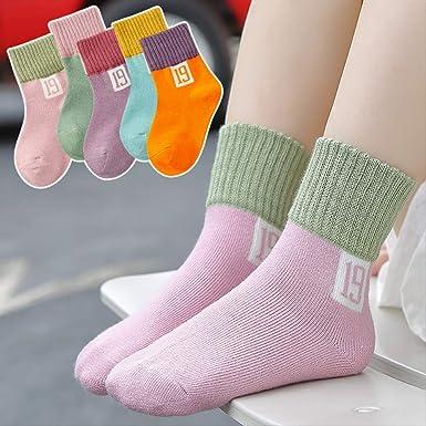DUKEMG 5 piezas calcetines para niños algodón bebé niña tubo recién nacido bebé otoño e invierno calcetines escuela primaria calcetines 19-22cm 04: Amazon.es: Ropa y accesorios