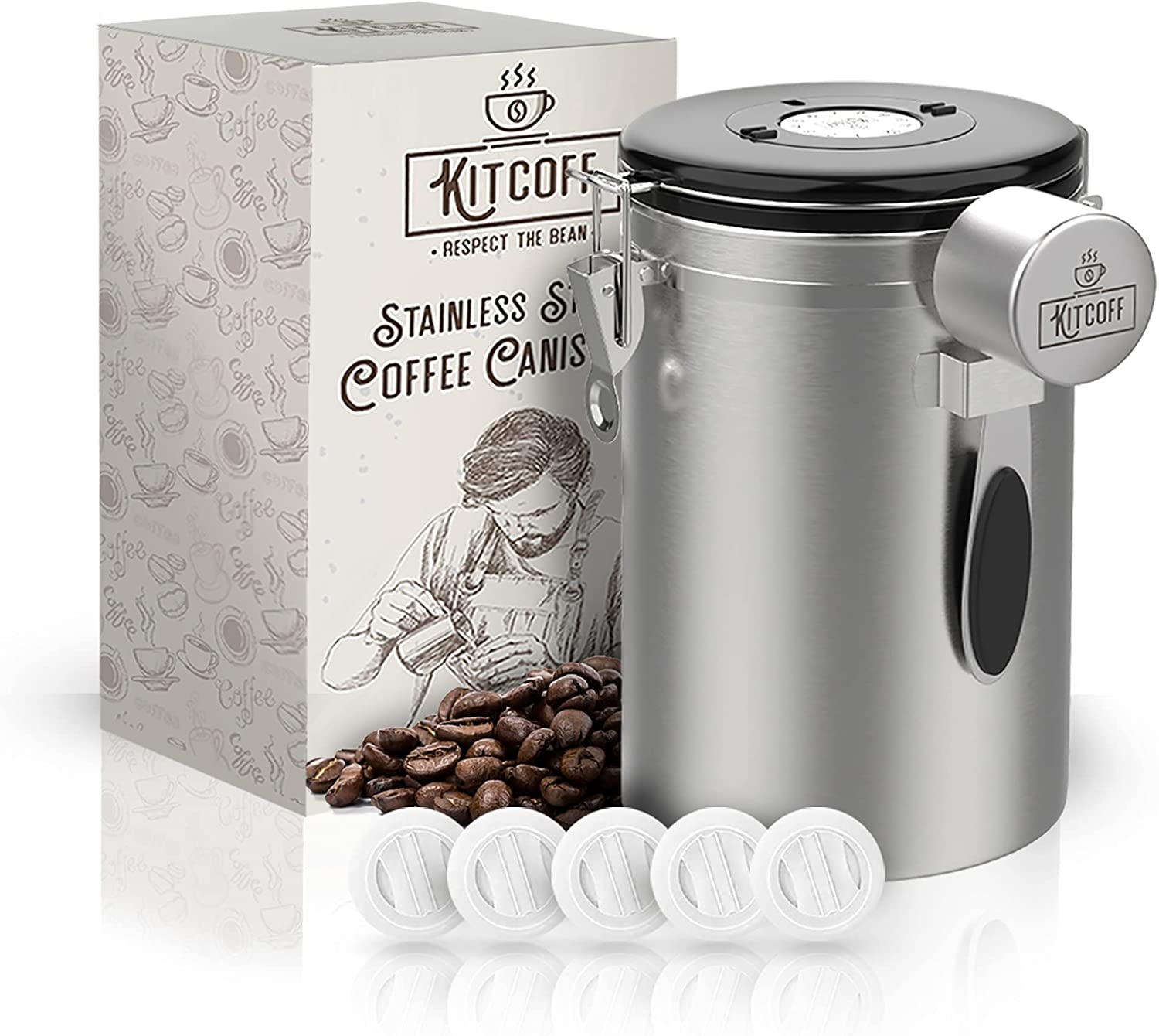 Kitcoff Coffee Canister - Set with Spoon, Extra Valve Filters - Stainless Steel, Airtight Seal,Date Tracker on Lid - Food Storage for Flour, Sugar, Loose Leaf & Tea Bags, Cereal, Powder, Ground Beans