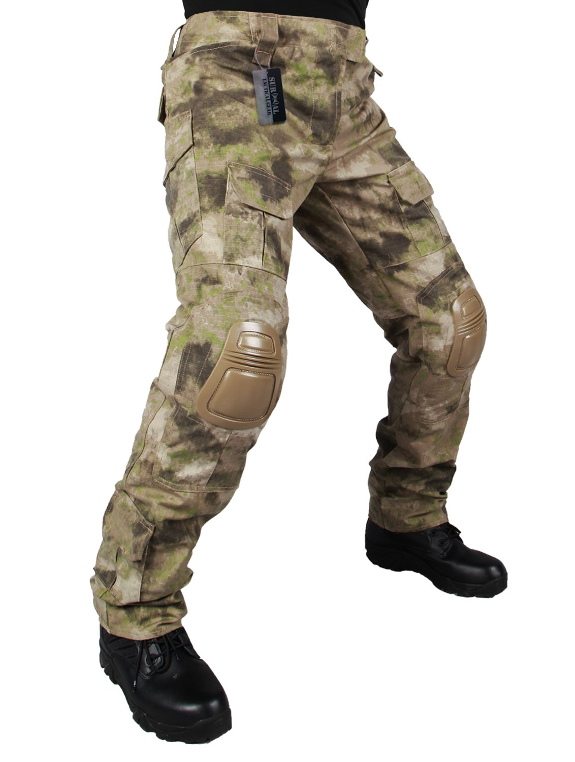 ZAPT Tactical Pants with Knee Pads Airsoft Camping Hiking Hunting BDU Ripstop Combat Pants 13 Kinds Army Camo Uniform Military Trousers (HI, XXL40) by ZAPT