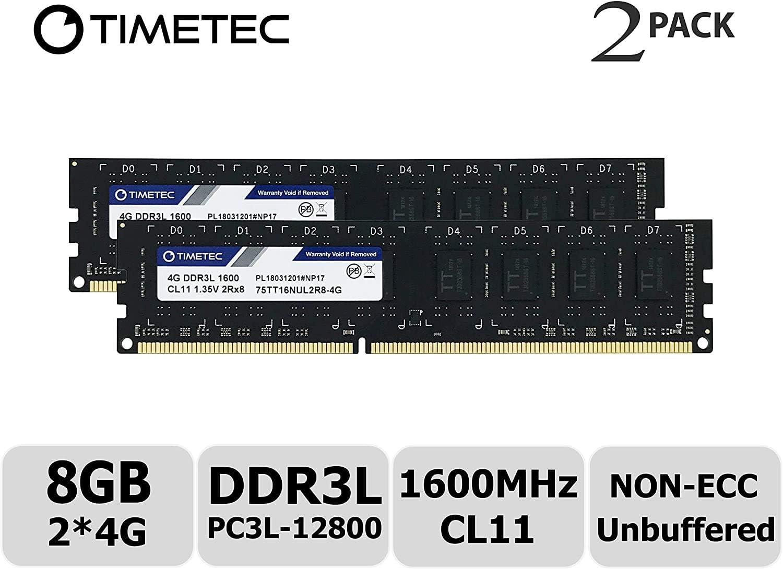 Timetec Hynix IC 8GB Kit (2x4GB) DDR3L 1600MHz PC3L-12800 Non ECC Unbuffered 1.35V/1.5V CL11 2Rx8 Dual Rank 240 Pin UDIMM Desktop PC Computer Memory Ram Module Upgrade (Low Density 8GB Kit (2x4GB))