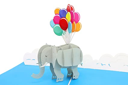 PopLife Elephant And Balloons 3D Mothers Day Pop Up Card