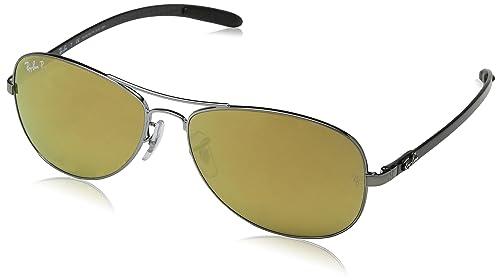 Ray-Ban Tecnología carbono fibra aviador gafas de sol en color marrón oro bronce brillante polarizan espejo RB8301 004/N3 59