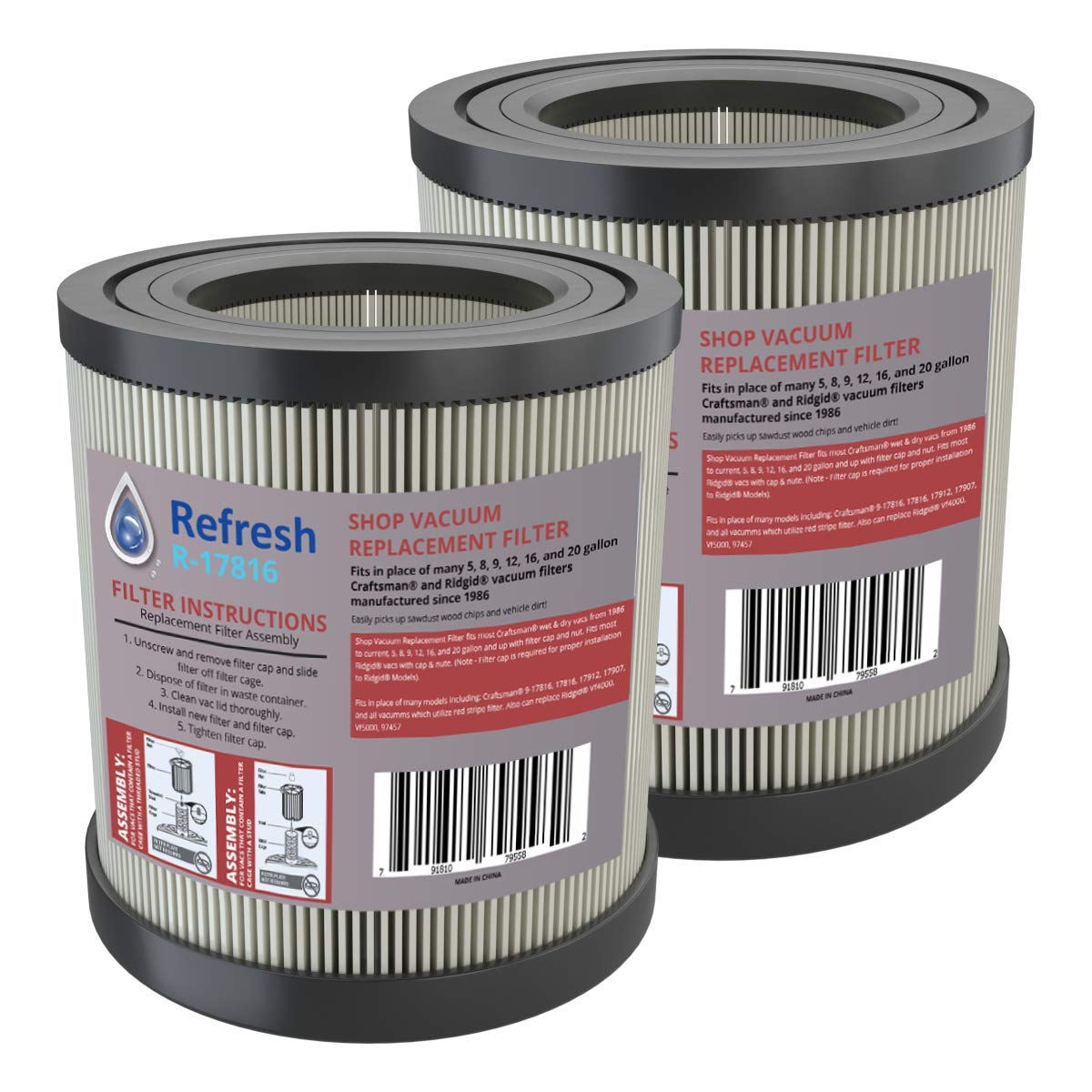 Refresh Compatible Wet/Dry Shop Vac Air Filter Replacement for - R17816 - Craftsman 17816 / Ridgid VF4000, VF4200 (2-Pack)