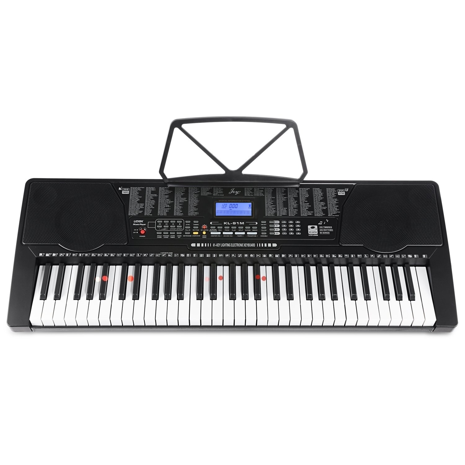 Joy 61-Key Lighting Keyboard with USB Music Player Function, Including Headphone, Stand & Stool (Kl-91MKit) by Joy (Image #2)