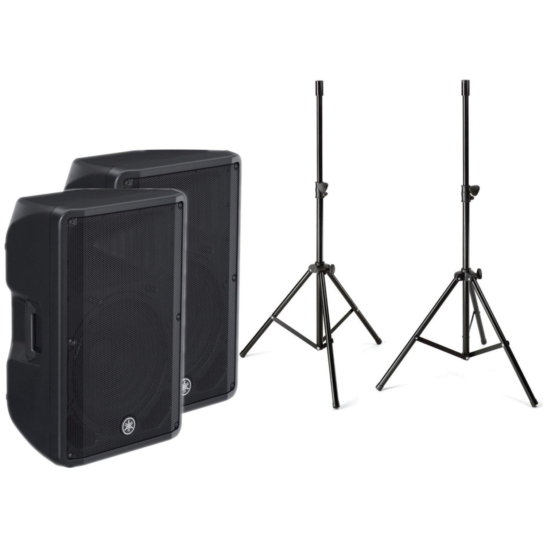 Pair of Yamaha CBR15 15'' 2 Way Passive Loud Speakers w/ Stands