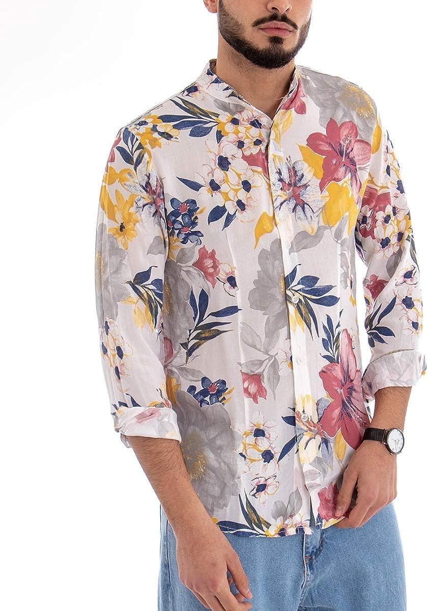Giosal Camicia Uomo Fantasia Fiori Floreale Maniche Lunghe