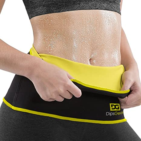 65006636c7fec DipsGear Neoprene Neotex Fabric Sweat Slim Belt Series Hot Body Shaper  (Black   Yellow
