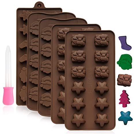 Moldes de Silicona - 39 Figuras de Chocolate Navideñas - Accesorio de Menaje para Navidad–