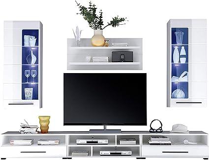 AVANTI TRENDSTORE - Alima - Parete da soggiorno in laminato bianco lucido,  Illuminazione LED compresa, Dimensioni: LAP 270x200x43 cm
