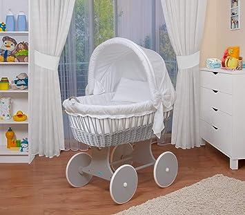 WALDIN Baby Stubenwagen Set Mit AusstattungXXLBollerwagenkomplett26 Modelle WahlbarGestell Rader Grau LackiertStoffe Weiss