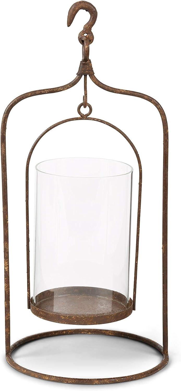 K&K Interiors Candle Holders, 17.5 Inch Rustic Metal Hanging w/Swinging Gla