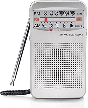 AM FM Portable Pocket Radio, Compact Transistor Radios - Best Reception, Loud Speaker, Earphone Jack, Long Lasting, 2 AA Battery Operated (Silver)
