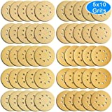 AUSTOR 50 Pieces Gold Sanding Discs, 5 inch 8 Holes Dustless Hook and Loop 60/80/ 100/120/ 150/180/ 240/320/ 400/800 Grit Sandpaper Assortment for Random Orbital Sander