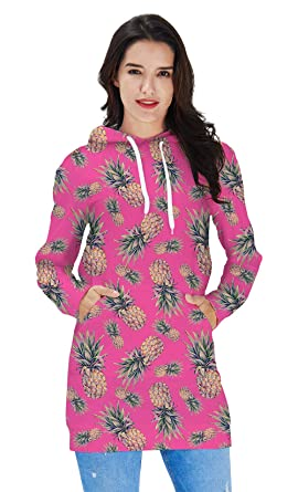 d38f31e2fac RAISEVERN Women s 90s Stylish Cool Pineapple and Pink Art Hoodie Dress  Tunics Tops Athleisure Pullover Thin