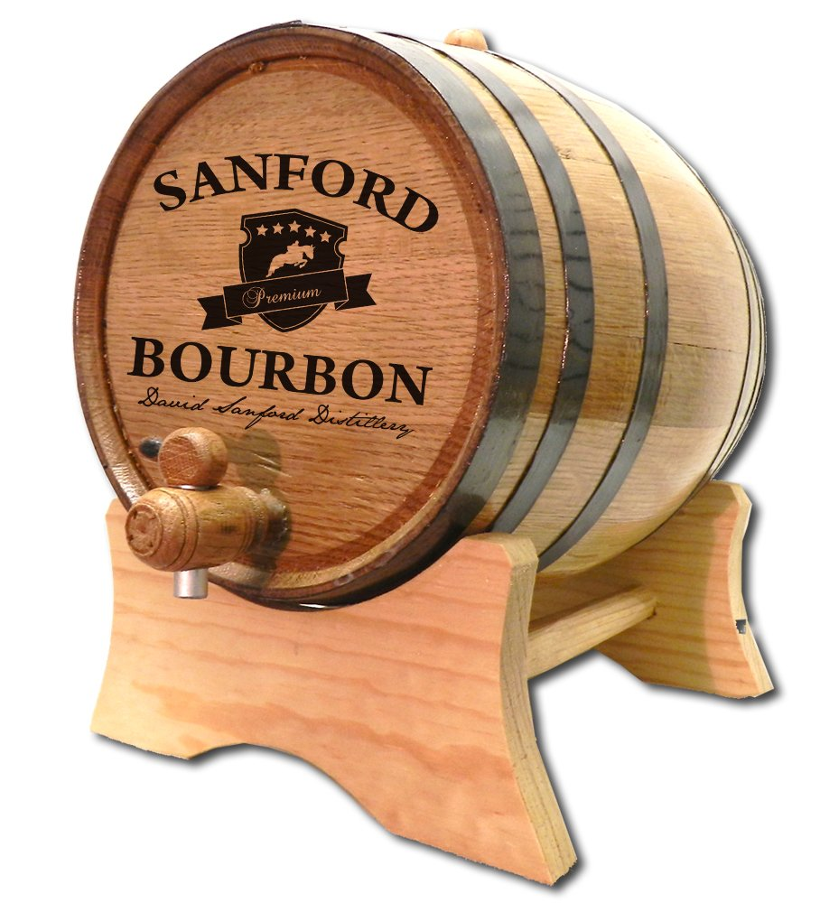 Personalized Bourbon Crest 20 Liter White Oak Barrel