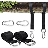 Tree Swing Hanging Kit, Swing Straps Conversion Hammocks Rope 5 ft Hold 1550 lbs with Heavy Duty Safer Lock & Carabiner Hooks Perfect for Camping Swings and Hammocks,Easy Fast Installation(2 Packs)