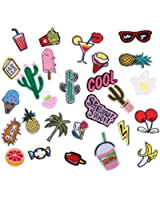 Iron on patches, Yosemy [28 Pcs] Assorted Size Iron Embroidery Applique Decoration DIY Patch for Jeans Clothing etc