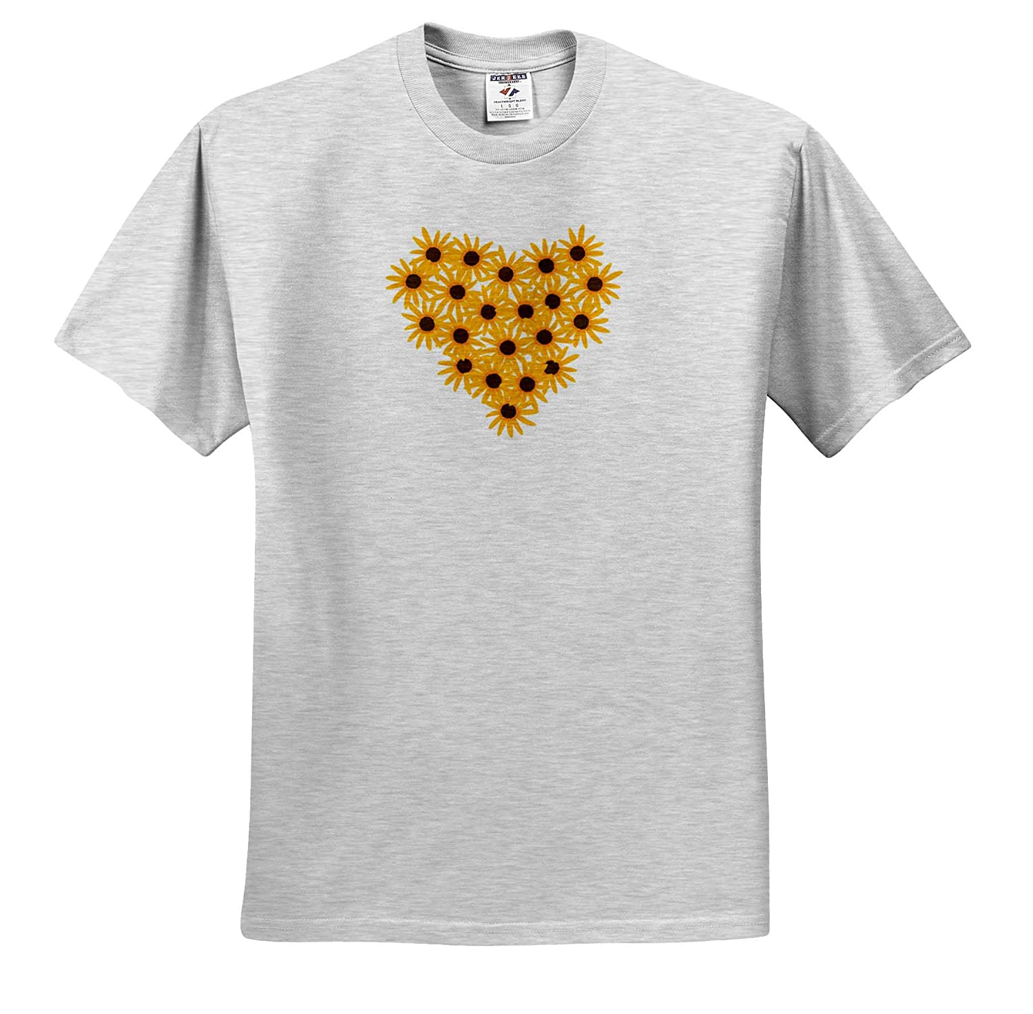 Adult T-Shirt XL 3dRose CherylsArt Hearts ts/_311427 Painting of Yellow Sunflowers Arranged in Heart Shape