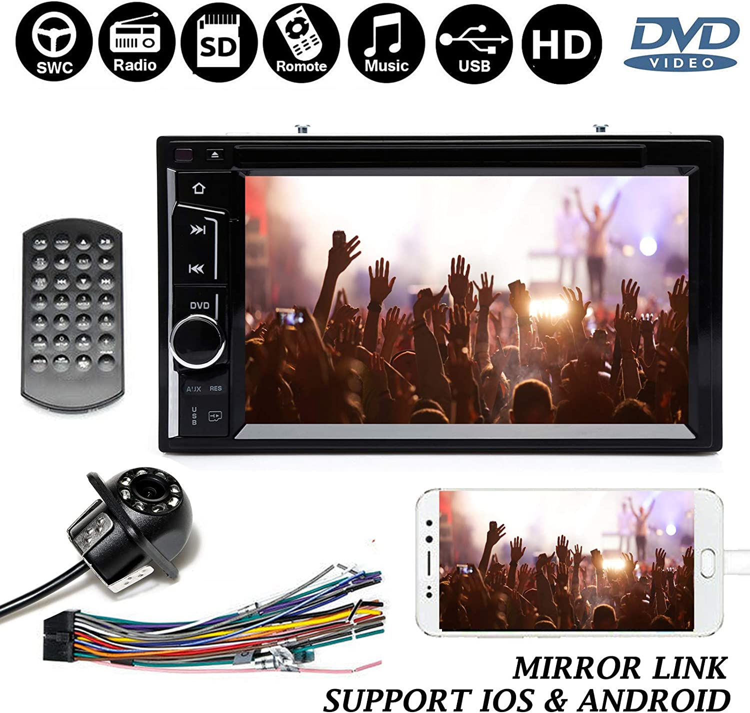 Two Din Car Radio with Backup Camera, Bluetooth, Support Dual System Mirrorlink,CD/DVD Player, Subwoofer Control, Aux, USB, 6.2 Touchscreen Indash for Chevy Avalanche 2007-2012 71ZjE5WSmyLSL1500_