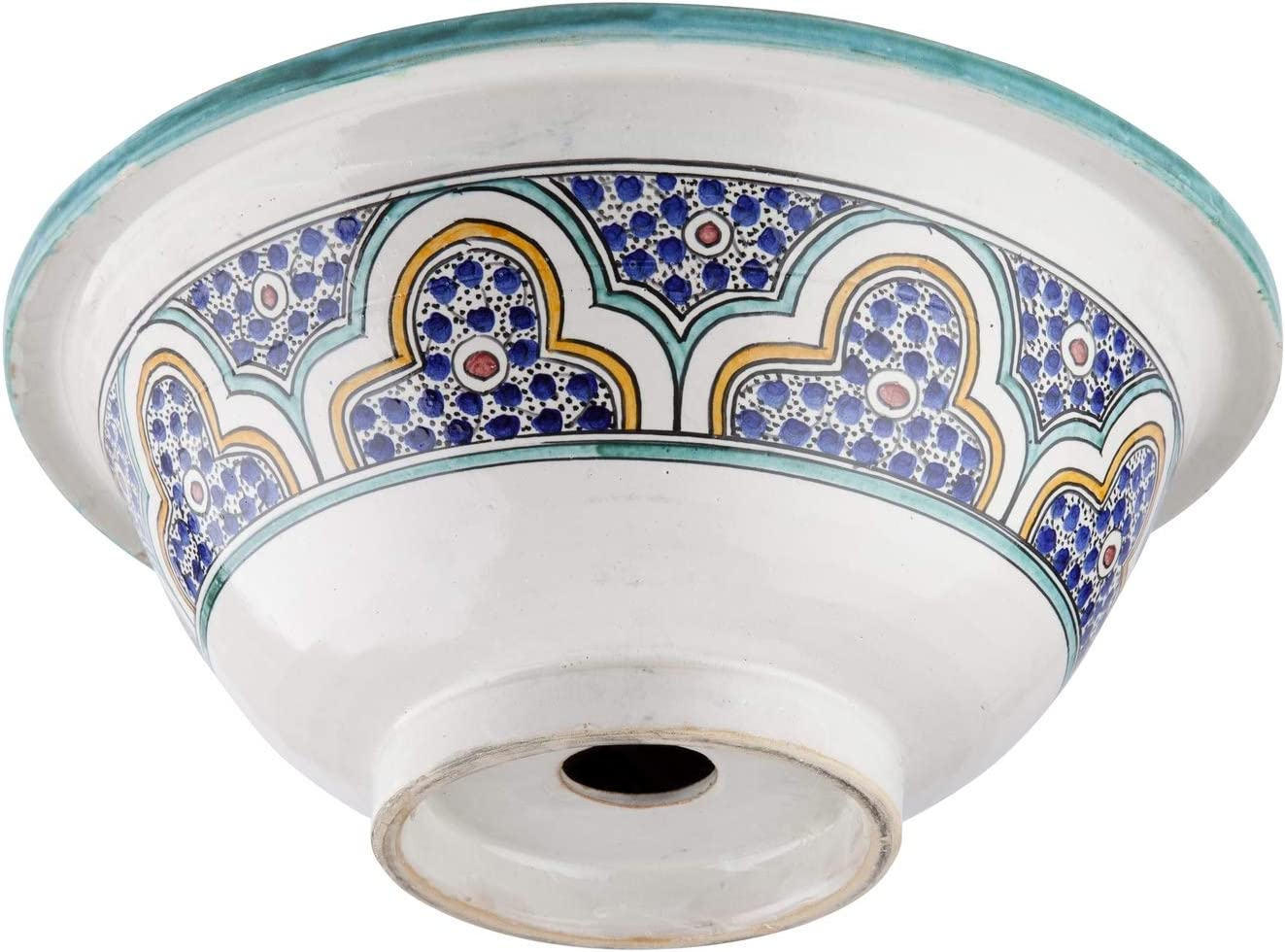 Countertop Washbasin 41 x 16 cm Ramila Cerames Moroccan Wash Basin Moroccan Built-In Sink for Bathrooms Toilets Guest Toilet