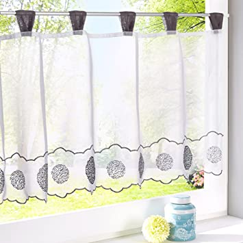 Kitchen Curtain Cafe Net Dining Room Sunshine Semi Sheer Valances Voile LIVEBOX Embroidered Window Tier