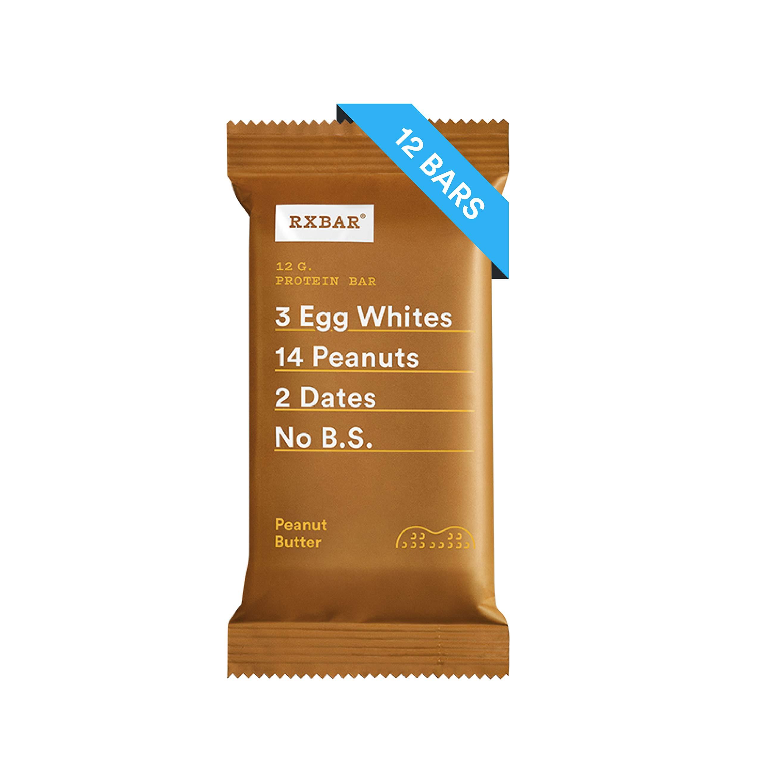 RXBAR Peanut Butter, High Protein Snack, Breakfast Bar, 12 Count by RXBAR