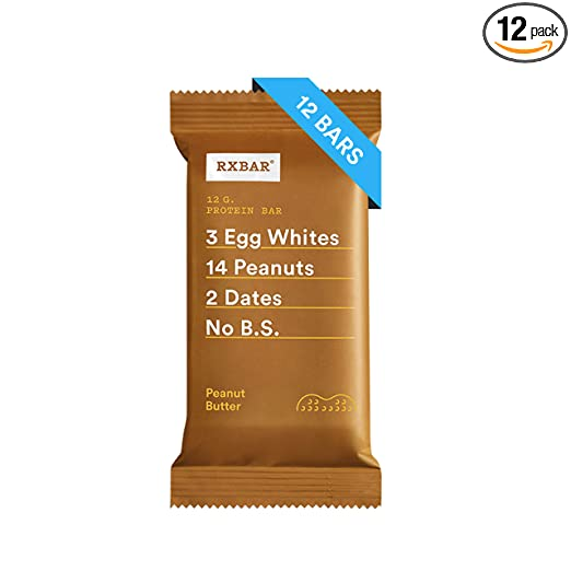 RXBAR, Peanut Butter, Protein Bar, 1.83 Ounce (Pack of 12) Breakfast Bar, High Protein Snack best paleo bars