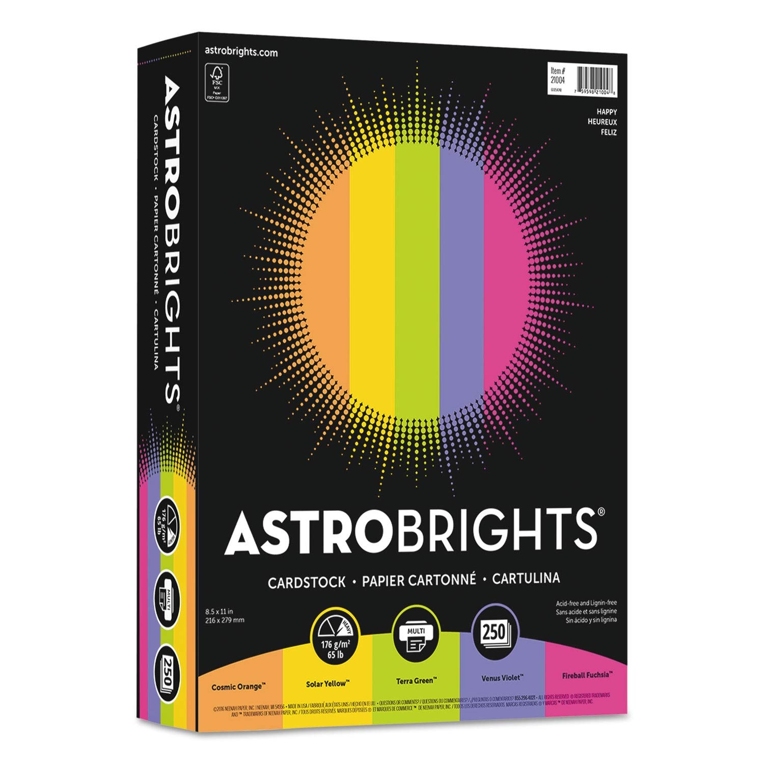 Astrobrights Color Cardstock, 65lb, 8 1/2 x 11, Assorted, 250 Sheets - 21004, (Pack of 2) by Astrobrights (Image #1)