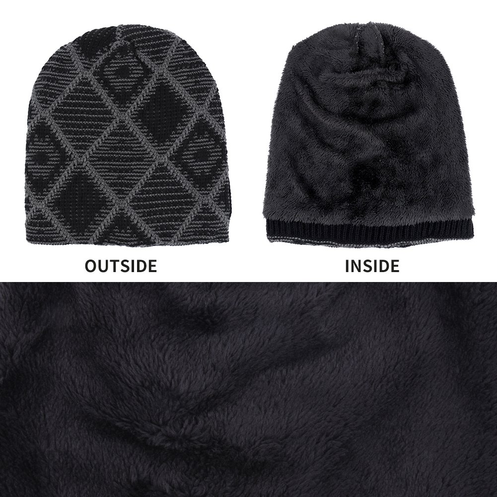 63f8791a2f5 iShine Winter Windproof Lined Thick Knitting Skull Cap Wool Warm Slouchy  Beanie Hat at Amazon Men s Clothing store