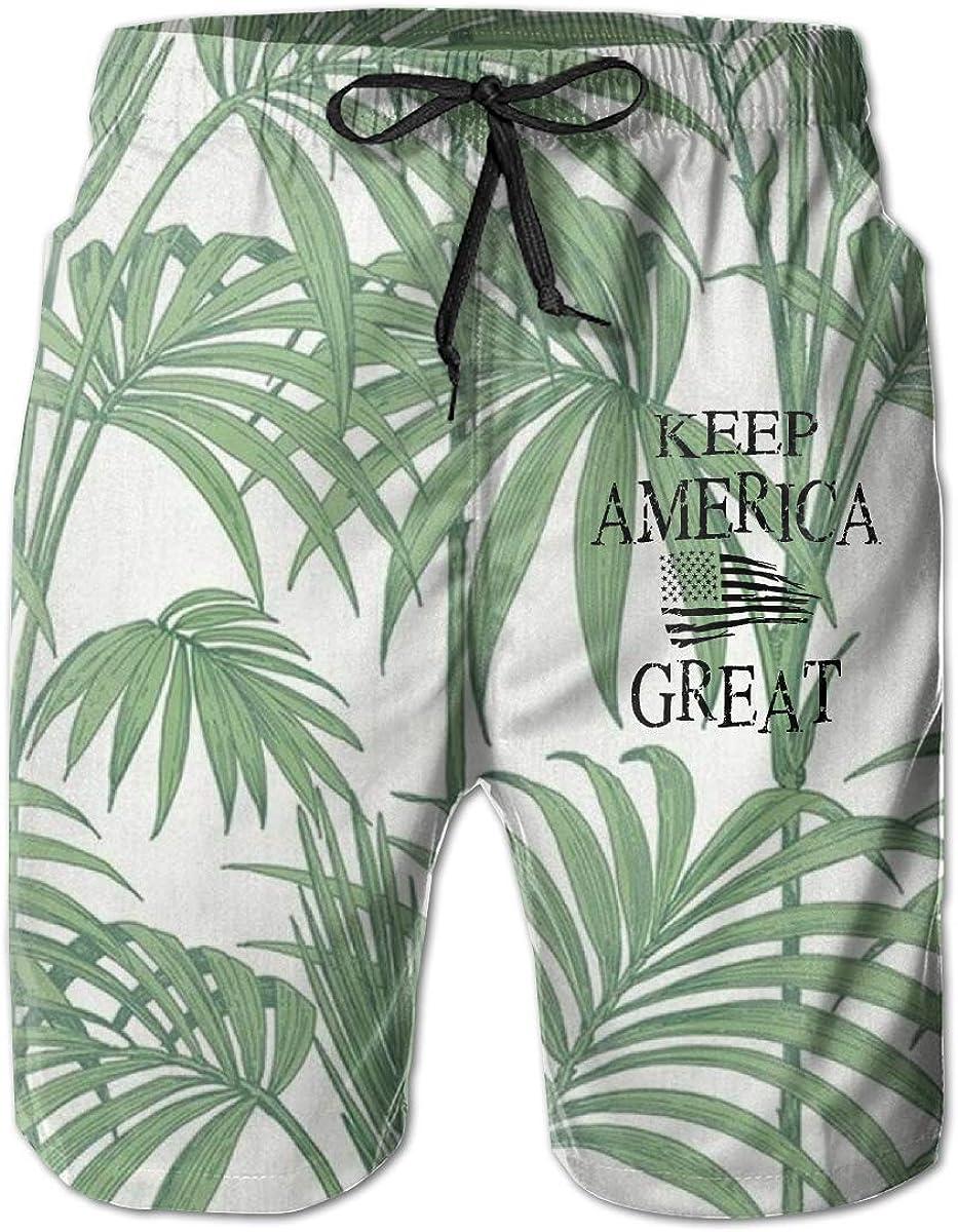PPUttDJddGH-P Keep America Great American Flag Printed Mens Summer Beachwear Swimming Shorts Outdoor Beach Pants