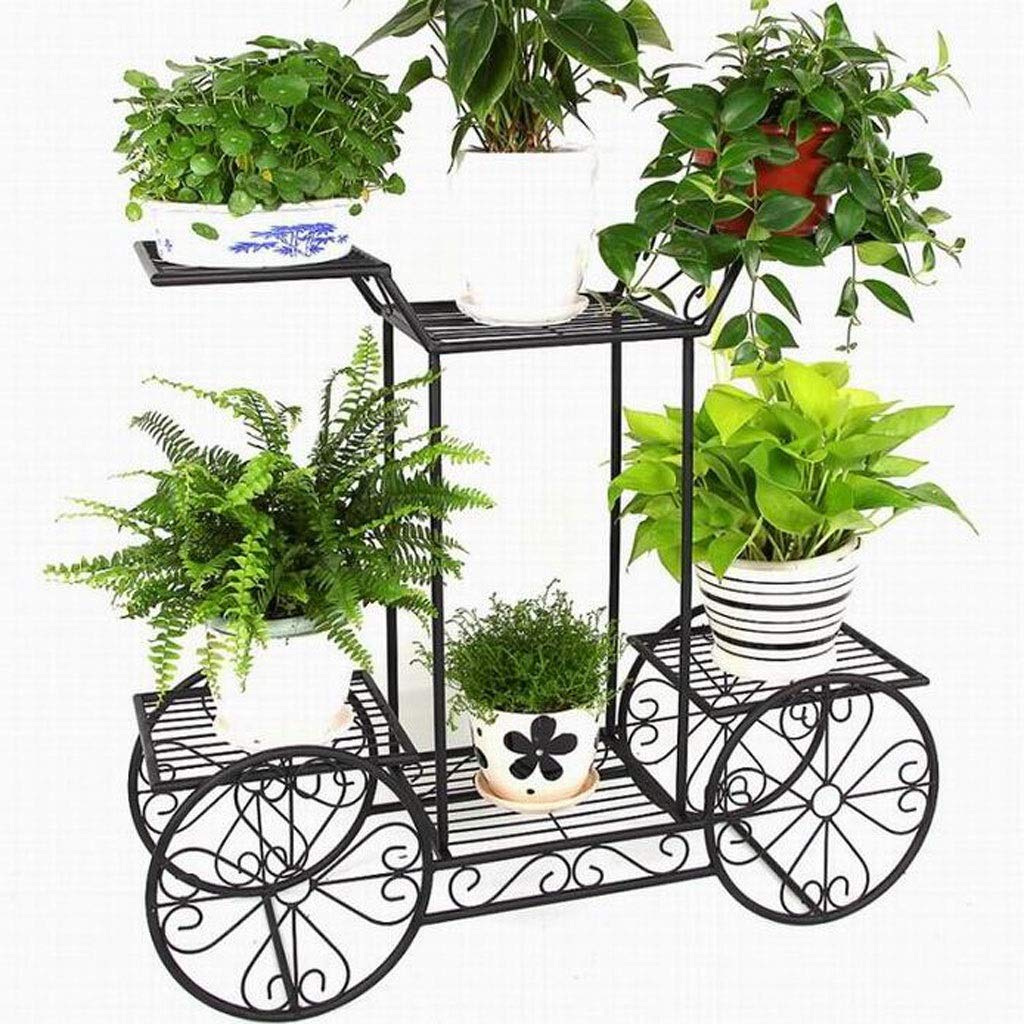 European Style Bold Floor Balcony Flower Stand Creative Bicycle Six Pots Wrought Iron Pot Rack Living Room Multi-Layer Green Rack Perfect for Home, Garden, Patio by Ganxie