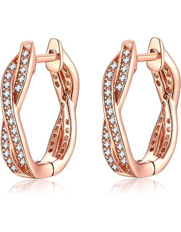 6616b7ceda26 Qings Pendientes de Plata de Ley 925 con Circón Cúbica Oro Rosa Pendientes  para Mujeres