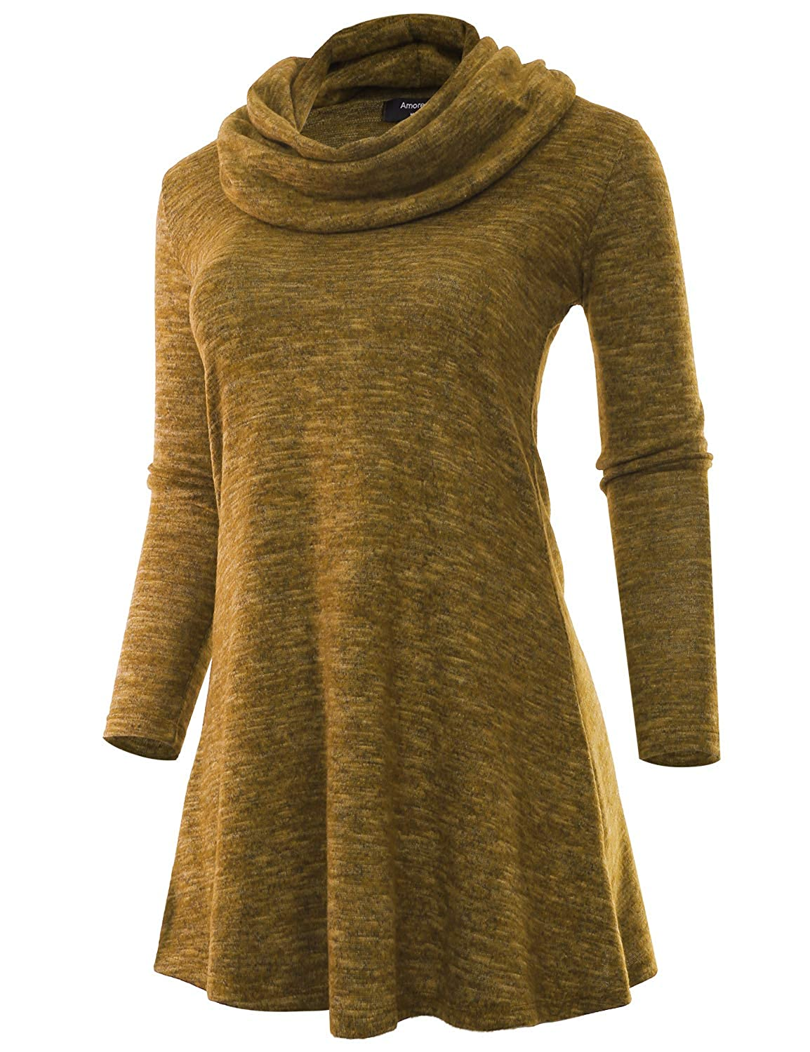 e1ac44c999f Amazon.com  A.F.Y Women s Marled Cowl Neck Plus Size Tunic Sweater Dress  (Made in USA) Mustard XX-Large  Clothing