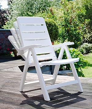 6 Kettler Nice Chaise de jardin en blanc chaise pliante