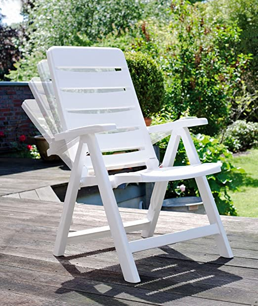 2 Kettler Nizza Silla de jardín, blanca, plegable, muebles de jardín