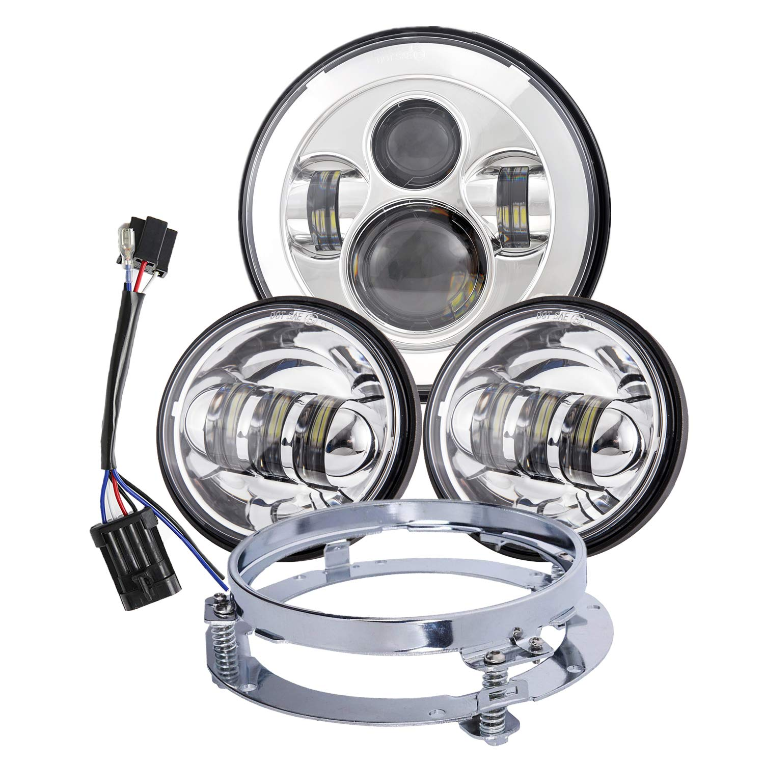 LX-LIGHT-Dot Approved Chrome 7inch LED headlight for Harley Motorcycles