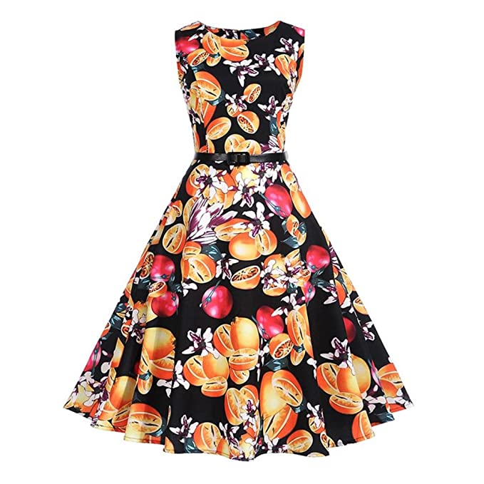 ELAINE Vestido Vintage de los años 50, el Estilo Retro de los Vestidos de Hepburn Cintura Adelgazante Figura Vestido de Llamarada Estampado para la ...