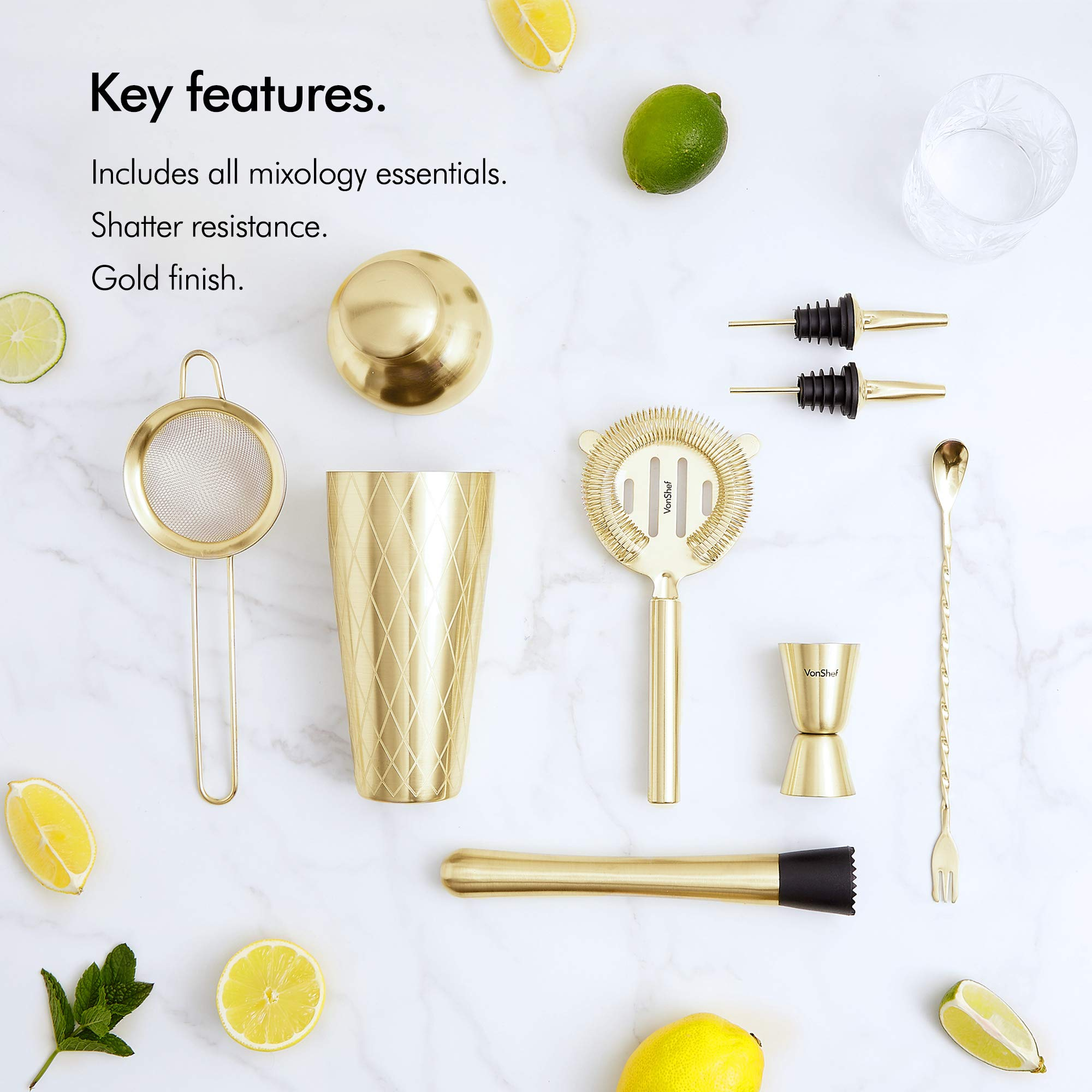 VonShef 9pc Gold Parisian Cocktail Shaker Bartender Set with Gift Box, Recipe Guide, Muddler, Jigger, Cocktail Strainers, Bar Spoon and Bottle Pourers by VonShef (Image #2)