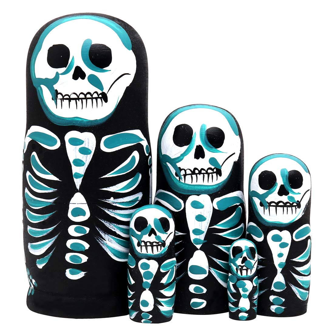 Debbieicy 5Pcs Beautiful Handmade Wooden Russian Nesting Dolls Skull Matryoshka dolls Gift for Halloween and Birthday - Stacking Doll Set of 5 From 6.3'' Tall by Debbieicy (Image #5)
