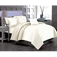 Trance Home Linen 100% Cotton 220TC Satin Checks King Fitted Bed Sheet with 2 Pillow Covers
