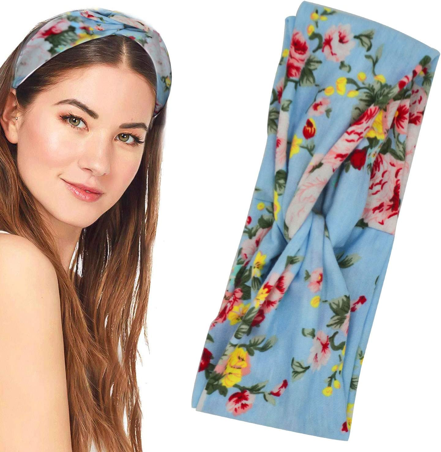 12 Pieces Women Headbands Vintage Elastic Flower Printed Boho Floal Style Criss Cross Twisted Hair Band Head Wrap Cute Hair Accessories for Women and Girls Wash Face Makeup Workout GYM Yoga Running