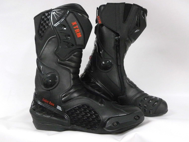 XTRM Core Bottes de Moto en Cuir renforc/é CE pour Course de Route et Tourisme Noir