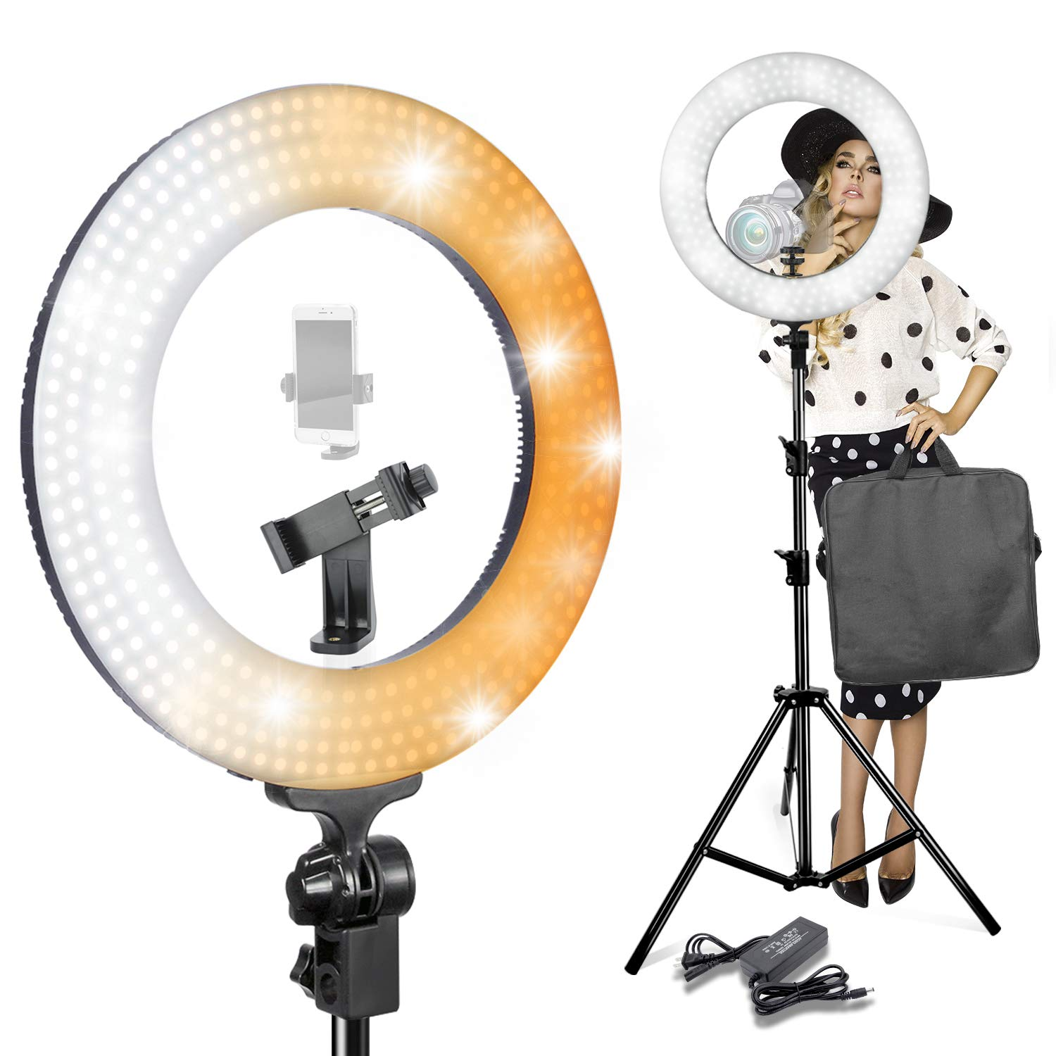 LimoStudio 14-inch Diameter Ring Light Continuous Round Ring Lighting Kit, 5500K Photography Photo Studio Light Stand, AGG1773V4