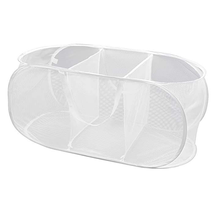 Smart Design Deluxe Mesh Pop Up 3 Compartment Laundry Sorter Hamper w/Handles - VentilAir Fabric Collapsible Design - for Clothes & Laundry - Home Organization (Holds 6 Loads) (33 x 15 Inch) [White]