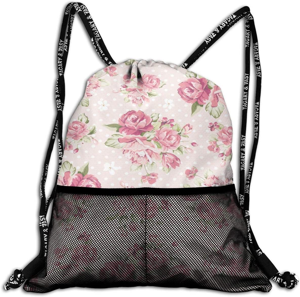 Yackpa Watercolor Floral Leaves Personalized Drawstring Backpack Front Zipper Mesh Bag Unisex For Travel Fitness