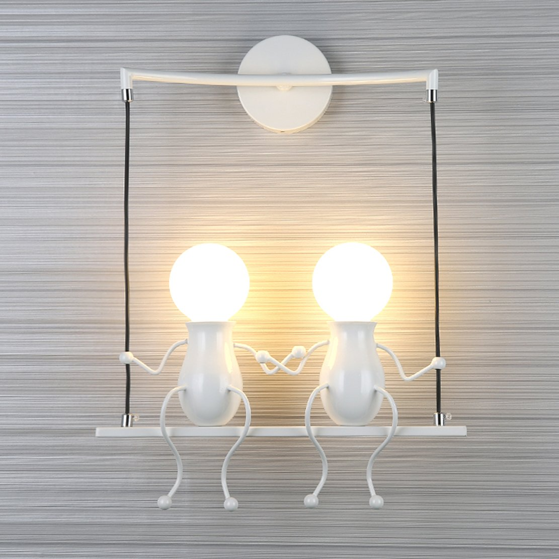 SOUTHPO LED Wall Light Fixtures Creative Double Little People Mini Wall Sconces Lighting Modern Decor Adjustable Swing Metal Bedside Lamp Children Cartoon Doll Gift Wall Lamps Bedroom 2×E26 (White)